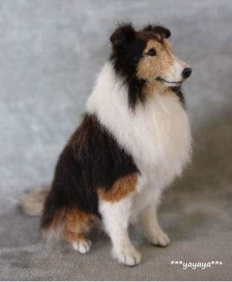"Needle felted Rough Collie by yayaya. VEGANIZE this, please! Art and creativity should NEVER support or condone animal cruelty and exploitation. Make sure your art/craft supplies aren't sourced from animals (such as ""wool"" felt, mohair, angora or alpaca fur, silkworm thread, feathers, etc.) and that they reflect a true reverence for life. Always use animal-free alternatives. Be kind. Be fair. Be vegan."