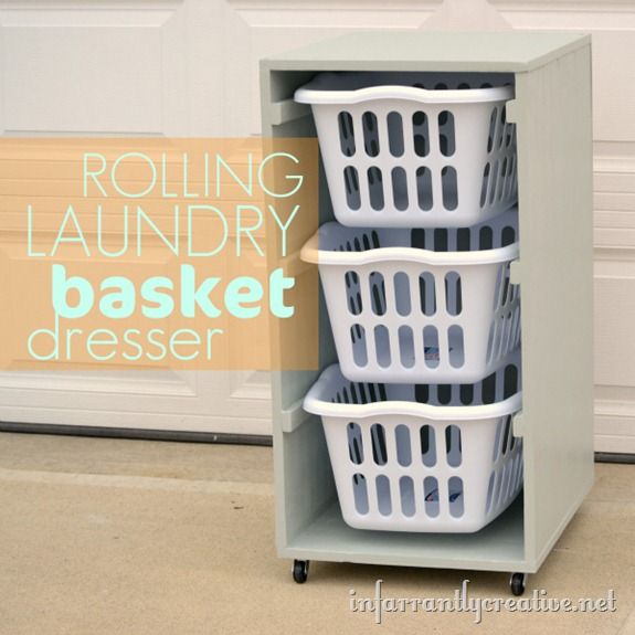 Rolling Laundry Basket Dresser - used Ana White's design but for lengthwise baskets   @Sean Vancour