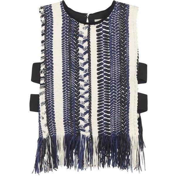 Womens Sleeveless Tops Sea NY Fringed Bouclé Top (16,735 THB) ❤ liked on Polyvore featuring tops, navy sleeveless top, navy top, keyhole top, sea, new york and sleeveless tops