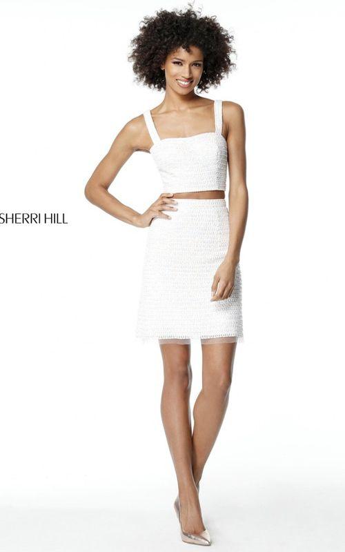 Beaded Sherri Hill 51279 White Short 2 Piece Homecoming Dress 2017