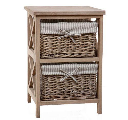 mueble con cestas de mimbre de cajones