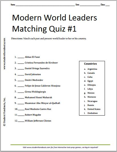 Modern Classroom Quiz ~ Modern world leaders printable matching quiz free