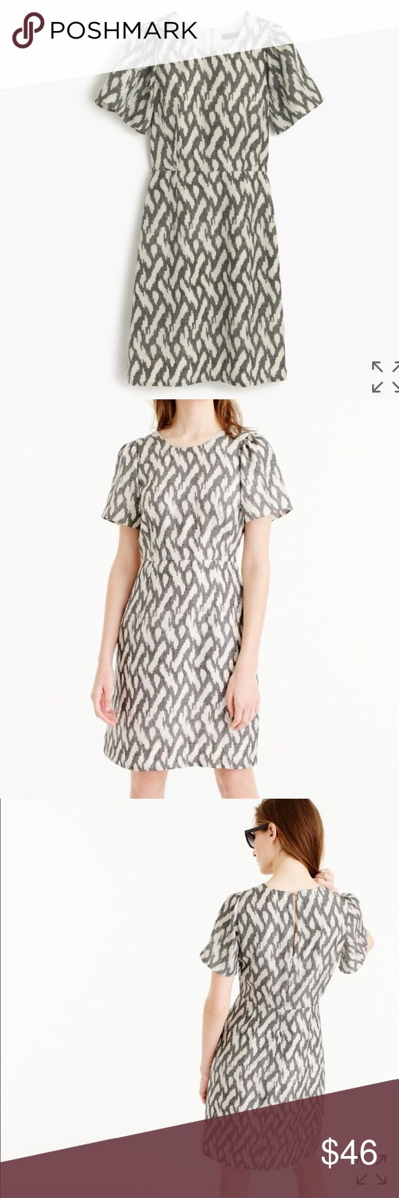"""NWT J. Crew Flutter-Sleeve Dress in Ikat Size 4 NWT J. Crew Flutter-Sleeve Dress in Ikat Size 4. Falls above knee, 37"""" from high point of shoulder (based on size 6). A flattering waist-defining dress with slightly fluttery sleeves, made in an ikat-covered silk fabric. Silk. Back keyhole. Lined. Dry clean only. J. Crew Dresses"""