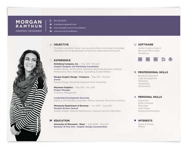 landscape resume format! Creative Resumes, Creative Resume Style, Creative Resume Design, Curriculum Vitae, CV. Personal Resume by Morgan Ramthun, via Behance