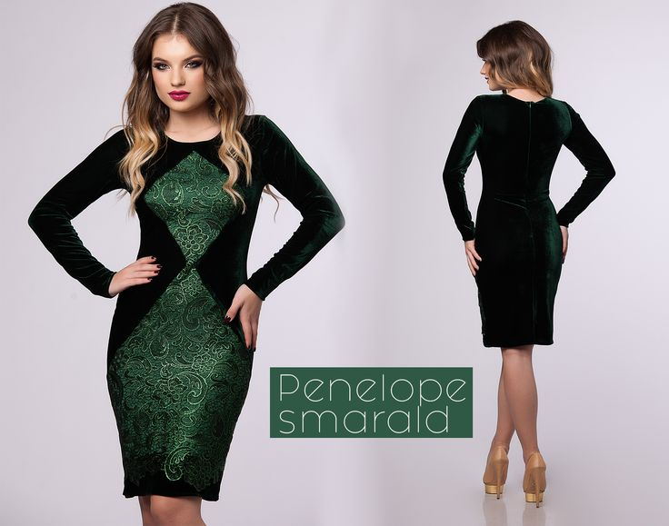 Midi eelgant dress made from velvet and lace in emerald hues!
