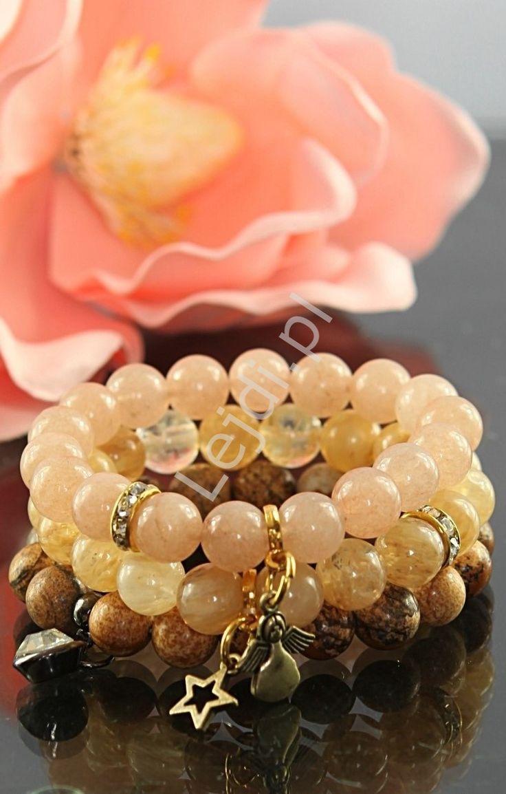 Hand made bracelet. DIY bracelets. Beżowa bransoletka z kamieni naturalnych | kamienie naturalne, hand made , pastelowe
