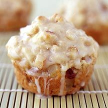 Weight Watcher-friendly Glazed Pear Muffins made with Bosc Pears, Sour Cream and a Ginger-Vanilla Glaze -- 4 points