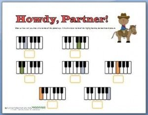 Free piano worksheets! This one has a fun cowboy theme and helps kids learn the names of the keys.