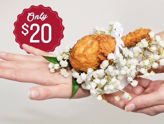 Want some Fry Earrings with that?  KFC offers Chicken #Corsage for #Prom