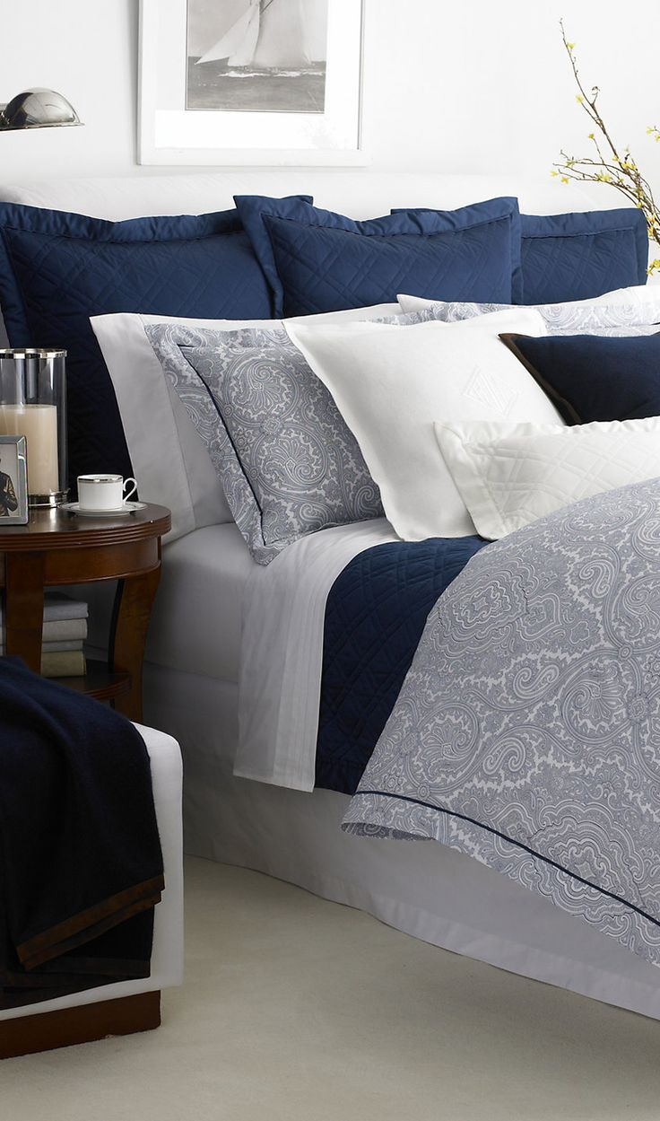 Navy Brentwood Paisley Bedding - Ralph Lauren Home Bed Collections