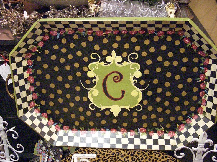 Hand Painted Furniture ~ Cute monogram tray!