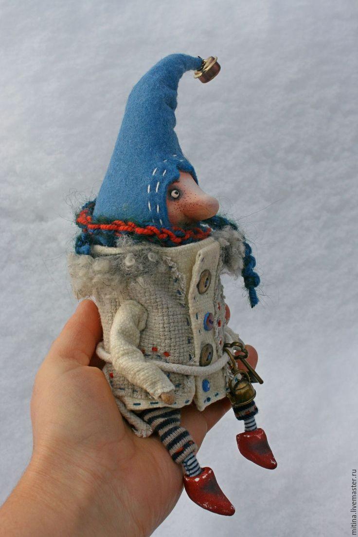 Купить Гном на половнике - белый, деревянная ложка, гном, подвеска, кухня, авторская кукла