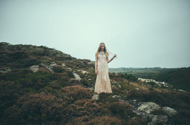 Lovely Bride wedding dress on the cliffs of Ireland