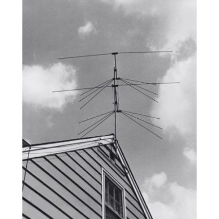 Low angle view of a television antenna on the roof of a house Canvas Art - (18 x 24)