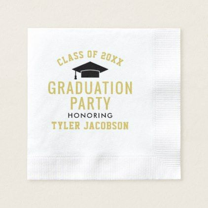 Graduation Class of 2018 | Black and Gold Napkin - graduation gifts giftideas idea party celebration