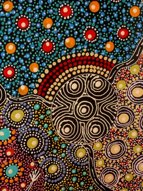 Colleen Wallace Nungari. Dreamtime Sisters.  Painted in Northern Territory 2010. Synthetic polymer paint on hand primed belgian linen.