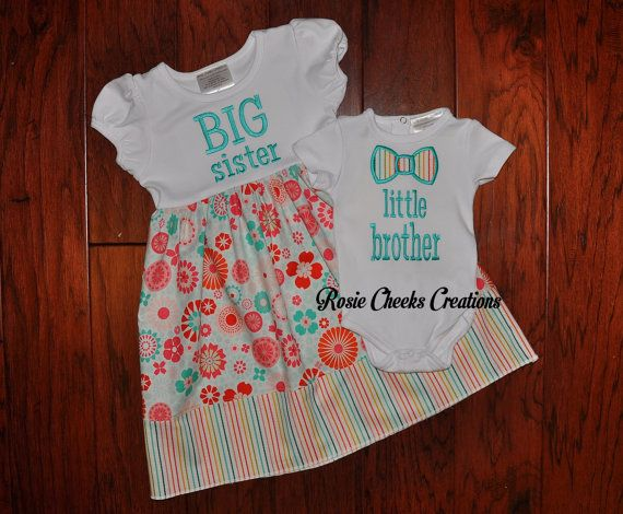 Long or Short Sleeve Big Sister Little by RosieCheeksCreations