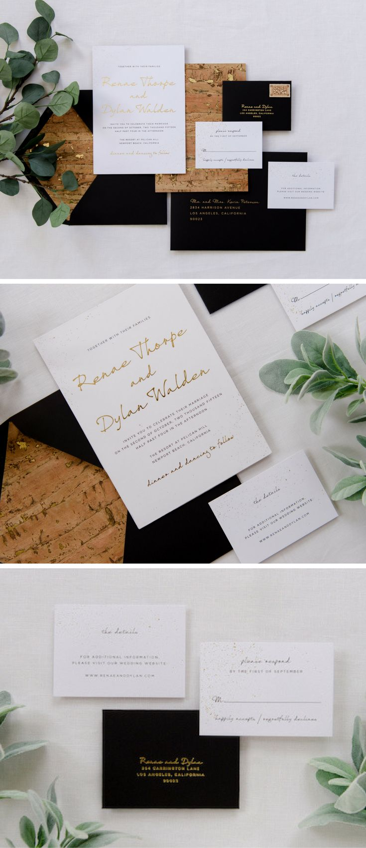 how long does it take to get wedding invitations made%0A Black  gold and cork wedding invitation  Industrial chic with cork skin  gold fleck paper  everything from the   u   d x      u   d oversized  twoply  invitation to