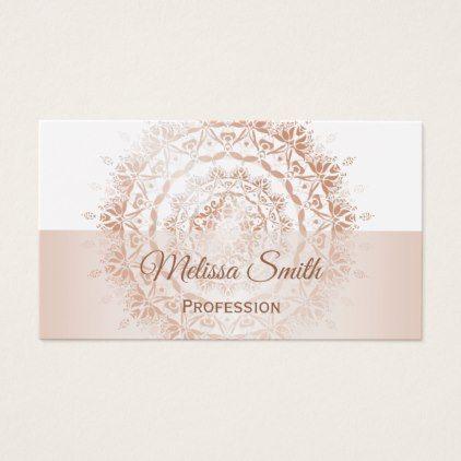 Rose Gold White Damask Mandala Business Card - rose gold style stylish diy idea custom