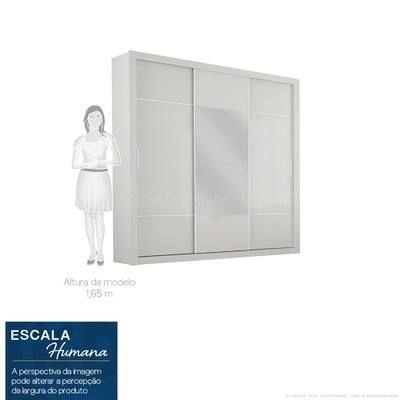 Guarda-roupa 3 Portas de Correr Arezzo 100% MDF Sem pés, com espelho e 4 Gavetas Branco - Novo Horizonte