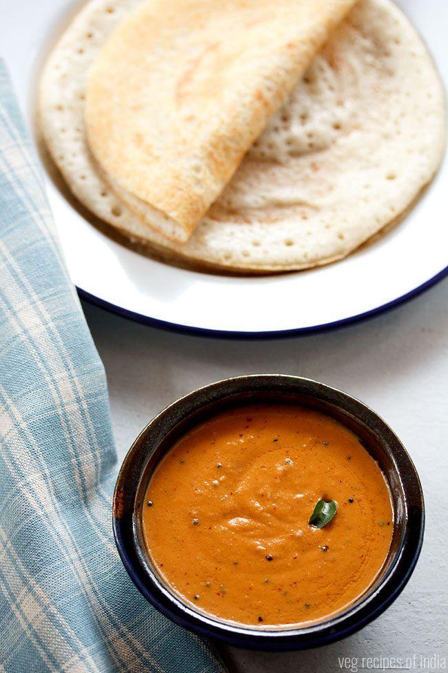 kara chutney recipe - south indian recipe of spicy tomato chutney. #chutney