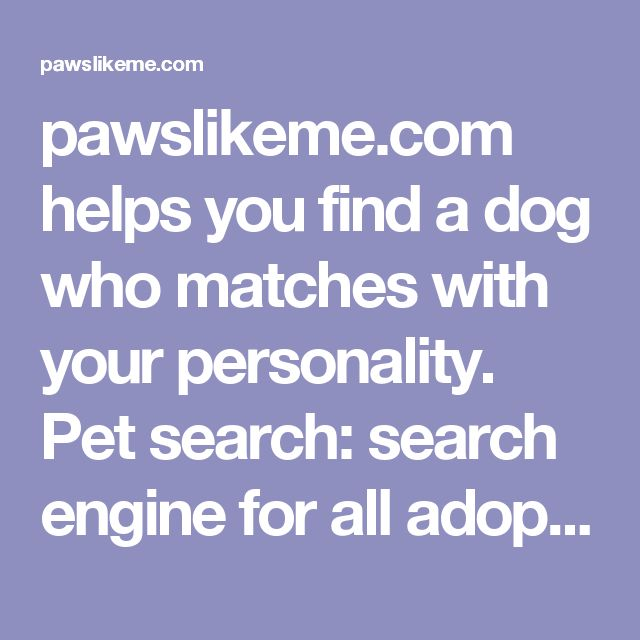 pawslikeme.com helps you find a dog who matches with your personality. Pet search: search engine for all adoptable rescue dogs across the country.