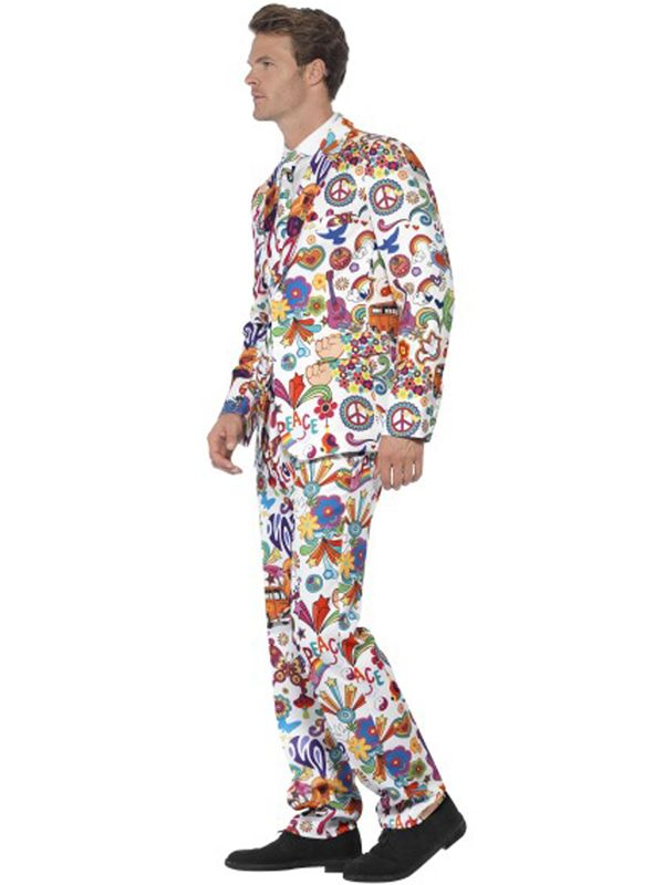 Mens Groovy Stand Out Suit Adults Hippy Psychedelic 60s Peace Fancy Dress M-XL