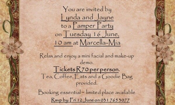 Pamper Party 16 June