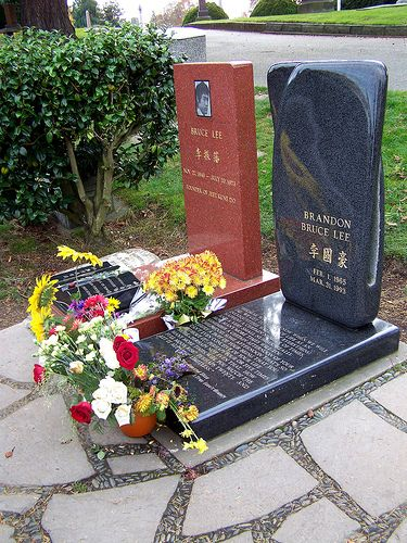Bruce and Brandon Lee. Along with Jimi Hendrix, probably the most famous graves in the Seattle Area.