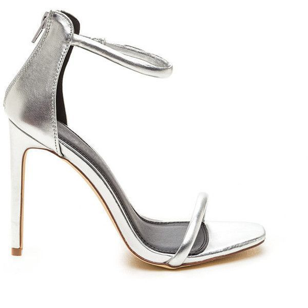 Just One Metallic Ankle Strap Heels SILVER (74 PEN) ❤ liked on Polyvore featuring shoes, pumps, metal, cushioned shoes, open toe high heel shoes, silver strap shoes, metallic shoes and silver strappy shoes #silveranklestrapsheels
