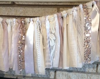Blush Rose Gold Sequin Fabric Banner Garland, Wedding, Baby Shower, Nursery, Crib Garland, Decorations - Trend Alert