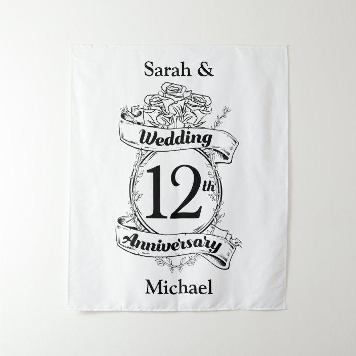 Romantic Roses 12th Twelfth Wedding Anniversary Tapestry Zazzle Com 1st Wedding Anniversary Ruby Wedding Anniversary Black And White Roses