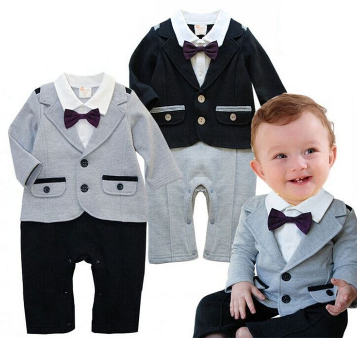 6-24M Baby Boy Tuxedo Bowtie Formal Wear Romper Onesie, 2 Colors #StylesILovecom #DressyEverydayHolidayParty