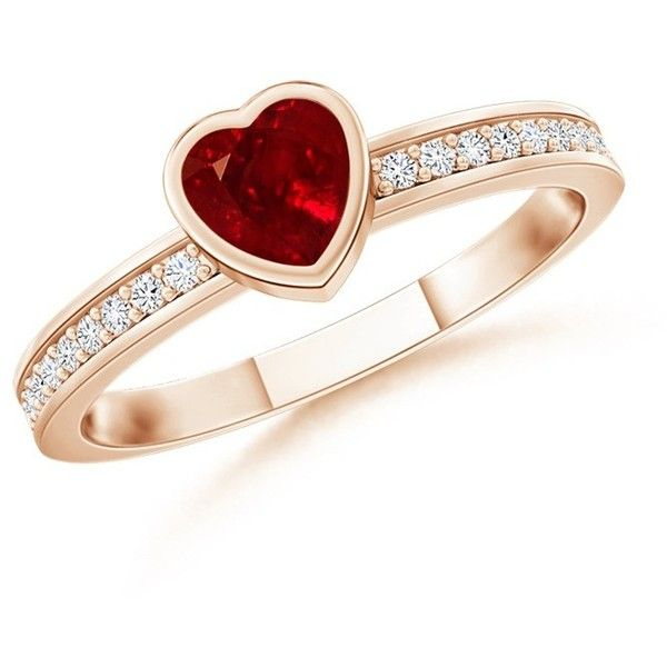 Solitaire Bezel Heart Ruby and Diamond Promise Ring ($909) ❤ liked on Polyvore featuring jewelry and rings