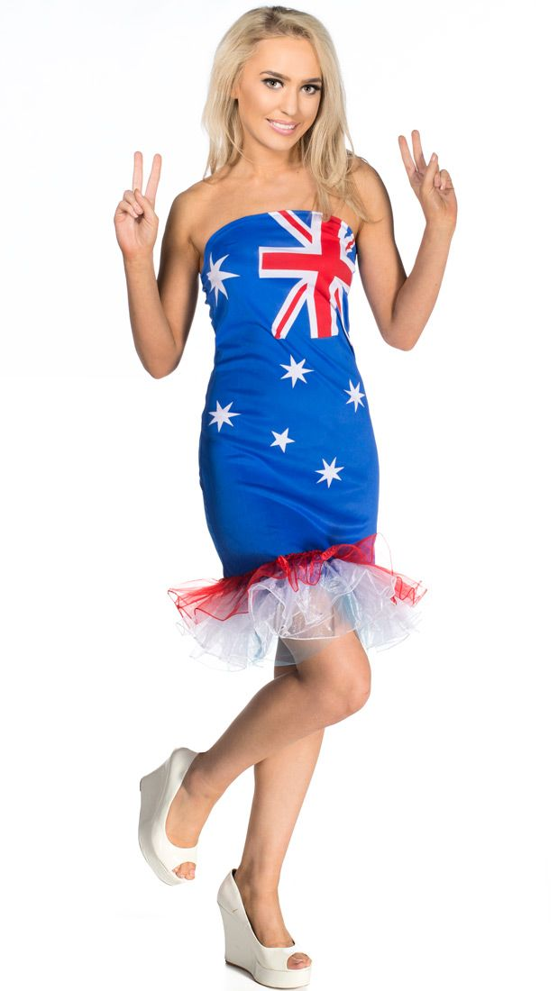 Be a real cute Aussie sheila in this tutu Australian flag dress, Buy it today at http://www.heavencostumes.com.au/australia-day-women-s-budget-tutu-dress.html