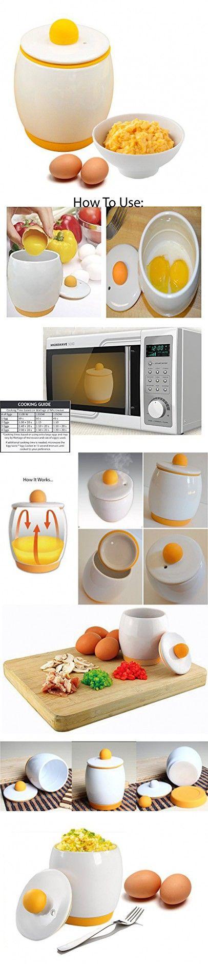 Ceramic Microwave Egg Cooker / Microwave Egg Poacher / Instant Scrambled Egg Cooker / Microwave Egg Cooker (Ceramic/Silicone)