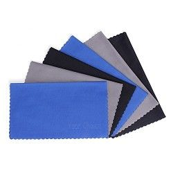 6 PCS Your Choice Microfiber Cleaning Cloths For Eyeglasses, Camera Lens, Cell Phones, CD/DVD, Computers, Tablets, Laptops, Telescope, LCD Screens and Other Delicate Surfaces (6×7″, Grey, Black, Blue)