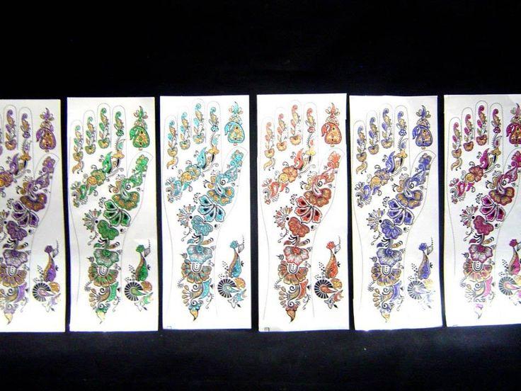 12 Pcs 6 Color Bindi Body Art Glitter Bridal Mehndi Henna Hand Tattoo Temporary  #Unbranded #TemporaryTattoos