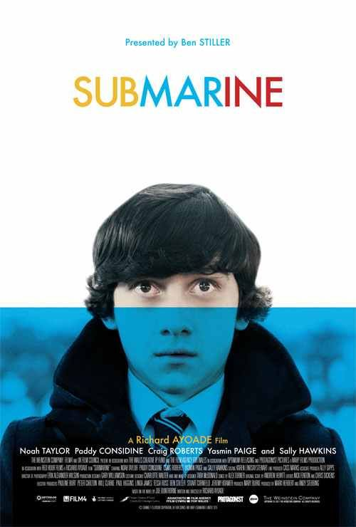 Film poster for Submarine - blue block represents water - relevant with the title Submarine - sinking/drowning/submerged? Trying to resurface? Photography based poster.
