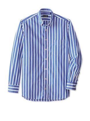 84% OFF Gitman Blue Men's Striped Long Sleeve Shirt (Navy)