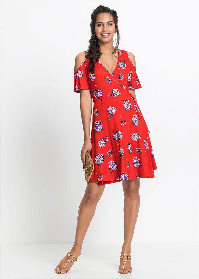 Sukienka Z Odkrytymi Ramionami Czerwony W Kwiaty Bonprix Sklep Dresses With Sleeves Fashion Short Sleeve Dresses