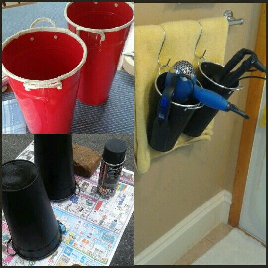"""Found these containers at the dollar store. Spray painted them black and now hung with """"S"""" hooks so now they'll hold my hair appliances. Look for heat resistant spray paint! This is perfect for residence at university!!!"""