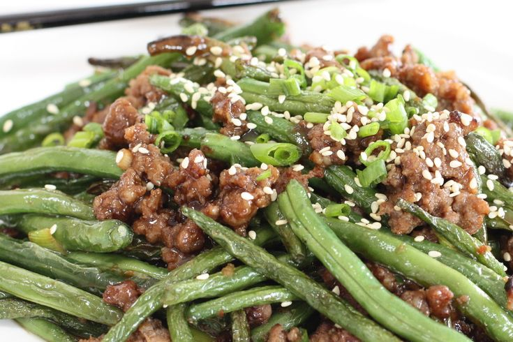 Spicy Green Beans with Pork- double the sauce and use half the chili sauce and honey instead of sugar. Don't forget to make the rice or noodles!