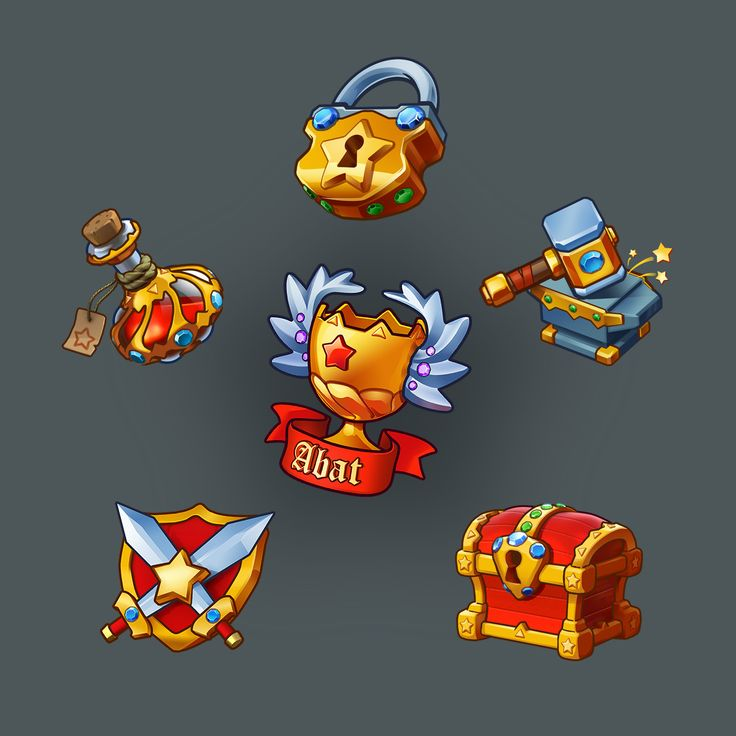 Game Art Props User Interface Anvil icon fantazy Bootle Chest Cup Padlock Swords ui gold gui