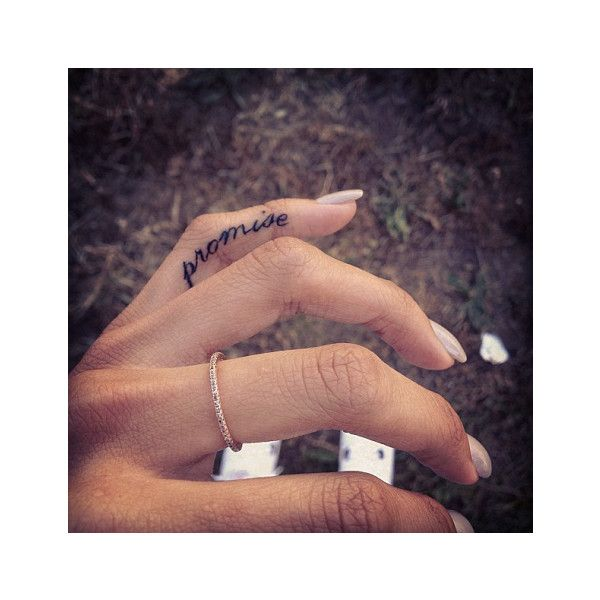 Chris Brown's Boo Karrueche Tran Gets Rihanna Tattoo On Pinky Finger... ❤ liked on Polyvore featuring tattoos