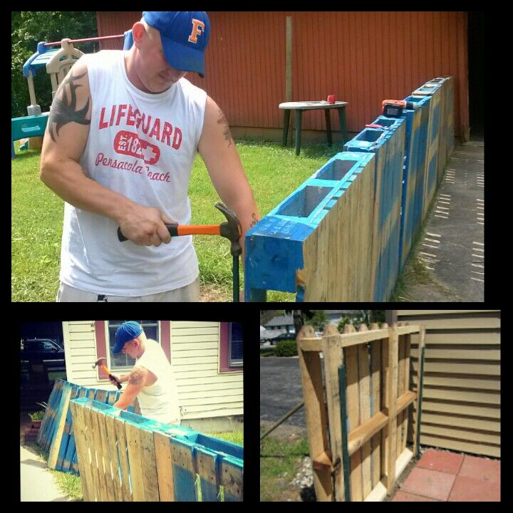 Pallet fence made for the new house...used metal fencing stakes to keep them in place and pieces of wood screwed to the back to keep the pallets even! Just gotta paint them now!