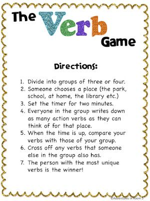 The Verb Game- use for reading groups