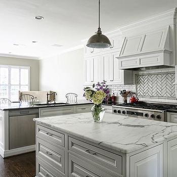 Kitchen with White Mini Subway Tiles, Transitional, Kitchen