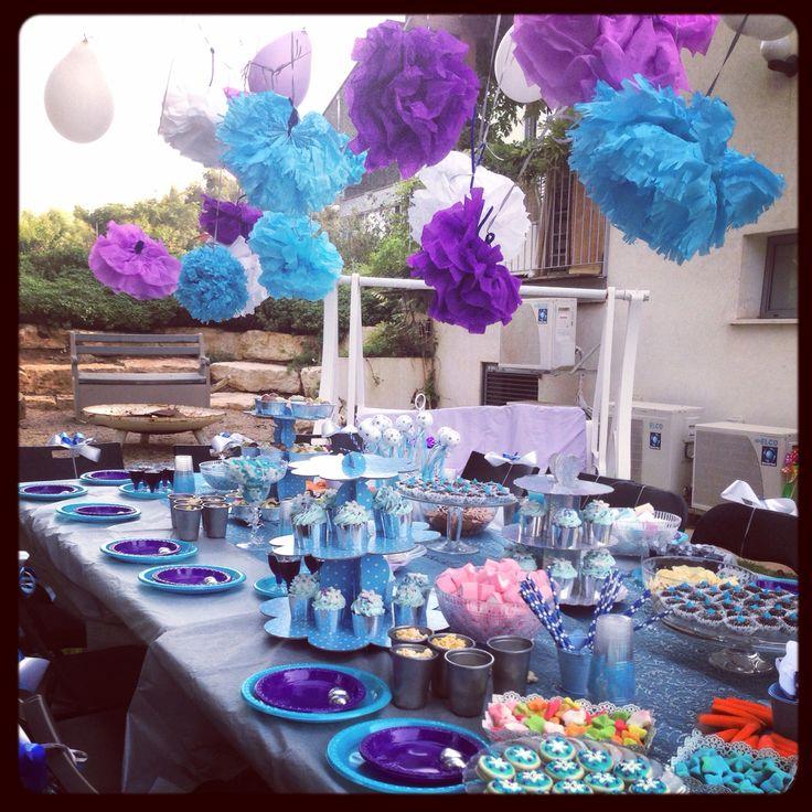 Party table blue purple silver frozen