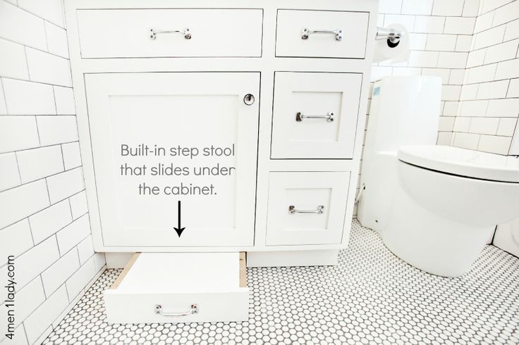 Built In Step Stool Under Cabinet Bath Pinterest